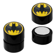No Piercing Required - 316L Stainless Steel Batman Logo Magnetic Fake Plugs - Sold as a Pair