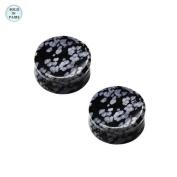 Black with White Spots Stone Saddle Ear Plug - 0 Gauge