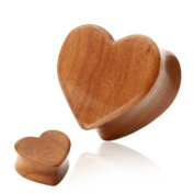 "Pair (2) Cherry Wood Heart Ear Plugs Double Flare Organic Tunnels - 1/2"" 12MM"