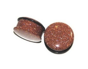 Single Flared Red Goldstone Plugs SOLD AS A PAIR 00ga