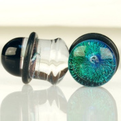 Pair of Glass Single Flared Foil Galaxy Plugs