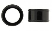 Large Gauge - 44mm / 1 3/4in - Super Acrylic Flesh Tunnels - Black - Sold as a Pair