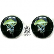 Pair of Glass Double Flared Amber Purple Jellyfish Plugs