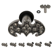 316L Stainless Steel Batman Plugs with Gems and O-ring - 14G (1.6mm) - Sold as a Pair