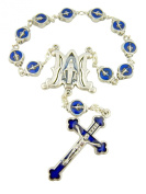 Religious Catholic Gift Blue Enamel Silver Plate Miraculous Mary Our Lady of Grace Bead One Decade Hand Bible Rosary