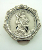 Saint St Christopher Be My Guide Flower Protection Pewter Auto Visor Clip