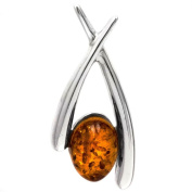 Sterling Silver Amber Abstract Pendant