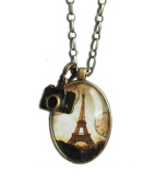 Eiffel Tower Anitique Brass Pendant Necklace with Hanging Camera
