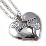 Best Friends Forever BFF Clear Heart Two Pendant Necklace Crytal Stone Engraved Letters High Polish Silver Tone Fashion Jewellery