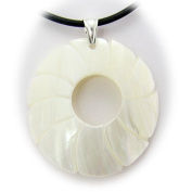 White Shell Domed Round Pendant Rubber Cord Necklace Sterling Silver Bail 45.7cm
