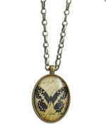 Black Butterfly Antique Brass Photo Pendant Necklace