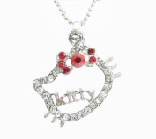 'Kitty' Charm Necklace with Red Bow