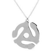45 Rpm Vinyl Record Adapter Spindle Replica Pendant Necklace In Silver Tone