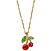 Nickel Free Cherry Necklace with. Crystals In Red with Gold Finish