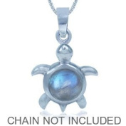 Moonstone 925 Sterling Silver Turtle Pendant
