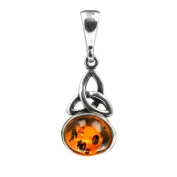 Sterling Silver and Honey Amber Celtic Oval Pendant