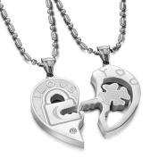 """Geminis New Fashion Silver Couple's """"I Love You"""" Lock and Key 316 L Stainless Steel Titanium Couple Pendant Necklaces(one Pair) Best Gift!"""
