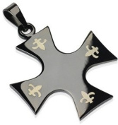 Fleur De Lis Etched on Black Iron Cross Pendant