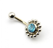 316L Surgical Steel 14 Guage Blue Crystal Sun Beads Belly Navel Ring Barbell Bar Body Piercing