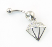 316L Surgical Steel 14G 1.6mm Diamond-shaped Taper Hollow Dangle Navel Belly Ring Bar Barbell Body Piercing