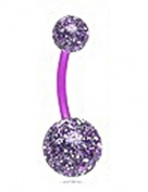 Flexible Purple Glitter Double Ball Navel Ring Belly Button Piercing Jewellery