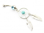 316L Surgical Stainless Steel 14g 1.1cm Crystal Gem Dream Catcher Belly Navel Barbell Bar Ring Body Jewellery Piercing