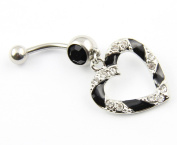 316L Surgical Steel 14g Clear Black Paved Heart Hollow Dangle Belly Navel Bar Ring Barbell Body Piercing
