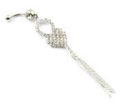 316L Surgical Steel 14G Heart Tassel Long 11cm Dangle Body Belly Navel Ring Piercing