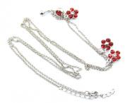 316L Surgical Steel Flower Studded Ladies Womens Waist Belly Dance Chain Belt Stud Navel Ring