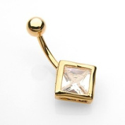 Belly Ring with Gold Plated Diamond Shaped Cubic Zirconia - 14G - 1cm Length - Sold Individually