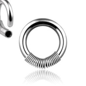 316L Surgical Stainless Steel Rings w/ Steel Spring - 16G (1.2mm) - 10mm Length - Sold as a Pair
