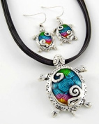 Colourful Enamelled Hand Painted Sea Turtle Pendant Necklace and Earrings Set