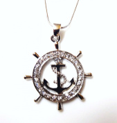 Nautical Ship Wheel and Anchor Beautiful Charm Pendant and Necklace Rhodium Plated Gift Boxed Fashion Jewellery