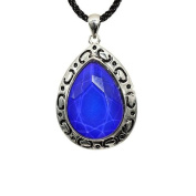 Faceted Teardrop Shape Silvertone Mood Stone Pendant With Tribal Design Frame On 45.7cm Black Silken Cord