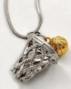 Basketball Charm Pendant Necklace Silver and Gold Tone 1.9cm Rhodium Plated Gift Boxed