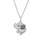 Polished Silvertone Elephant Pendant with Genuine Marcasite