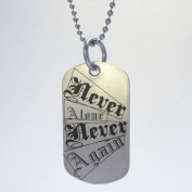Narcotics Anonymous Never Alone Never Again Dog Tag Necklace