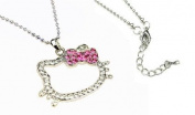 Kitty Charm Necklace with Pink Ribbon Bow