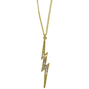 Lightning Bolt Necklace Set with. Crystals On 40.6cm Chain, Usa! In Gold