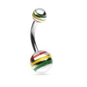 Rasta Jamaican Steel Striped Ball Belly Navel Ring 14G Button Piercing Jewellery