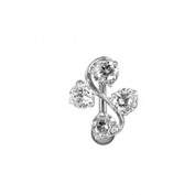 Top Down Fancy Gem Vine Belly Navel Ring Clear Gems Reverse Button Piercing Jewellery