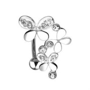 Top Down 3 Butterfly Belly Navel Ring Reverse Clear Gem Button Piercing Jewellery