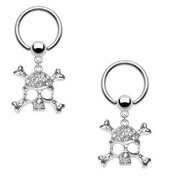 Body Accentz Nipple Ring Dangle Skull Captive Bead Body Jewellery Pair 16 gauge - Sold as a pair
