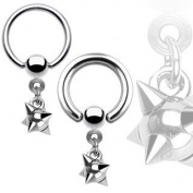 Body Accentz Nipple Ring Dangle Spike Captive Bead Body Jewellery Pair 14 gauge - Sold as a pair