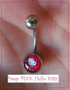 Deep PINK Hello Kitty Belly Button Naval Ring, Cute & Sexy; 14G - 10 MM Bar- 5 Mm Ball 316