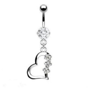 Titanium Gem Heart Belly Navel Ring Clear Gems Dangle Button Piercing Jewellery Solid Titanium Bar