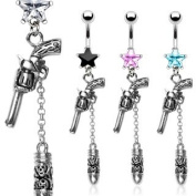 316L Surgical Steel Prong Set Black Star Belly Ring with Revolver Gun and a Skull Carved Bullet Dangle - 14G - 1cm Bar Length - Sold Individually