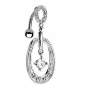 Reverse Gem Hoop Belly Navel Ring Centred Clear CZ Dangle Button Piercing Jewellery