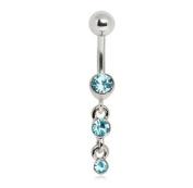 3-Gem Aqua Waterfall Drop Navel Ring Belly Button Piercing Jewellery w/Stainless Steel Bar