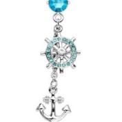 Anchor Ships Wheel Belly Navel Ring Aqua CZ Gems Dangle Button Piercing Jewellery